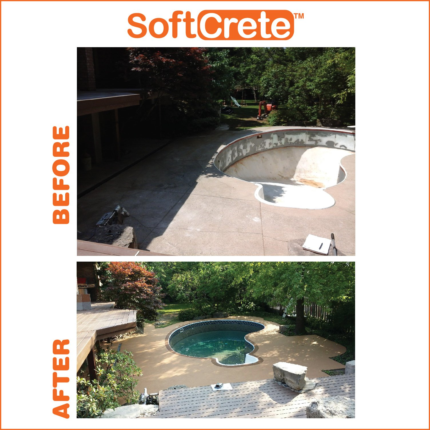 Before & After Outdoor Pool Deck Rubber Surfacing