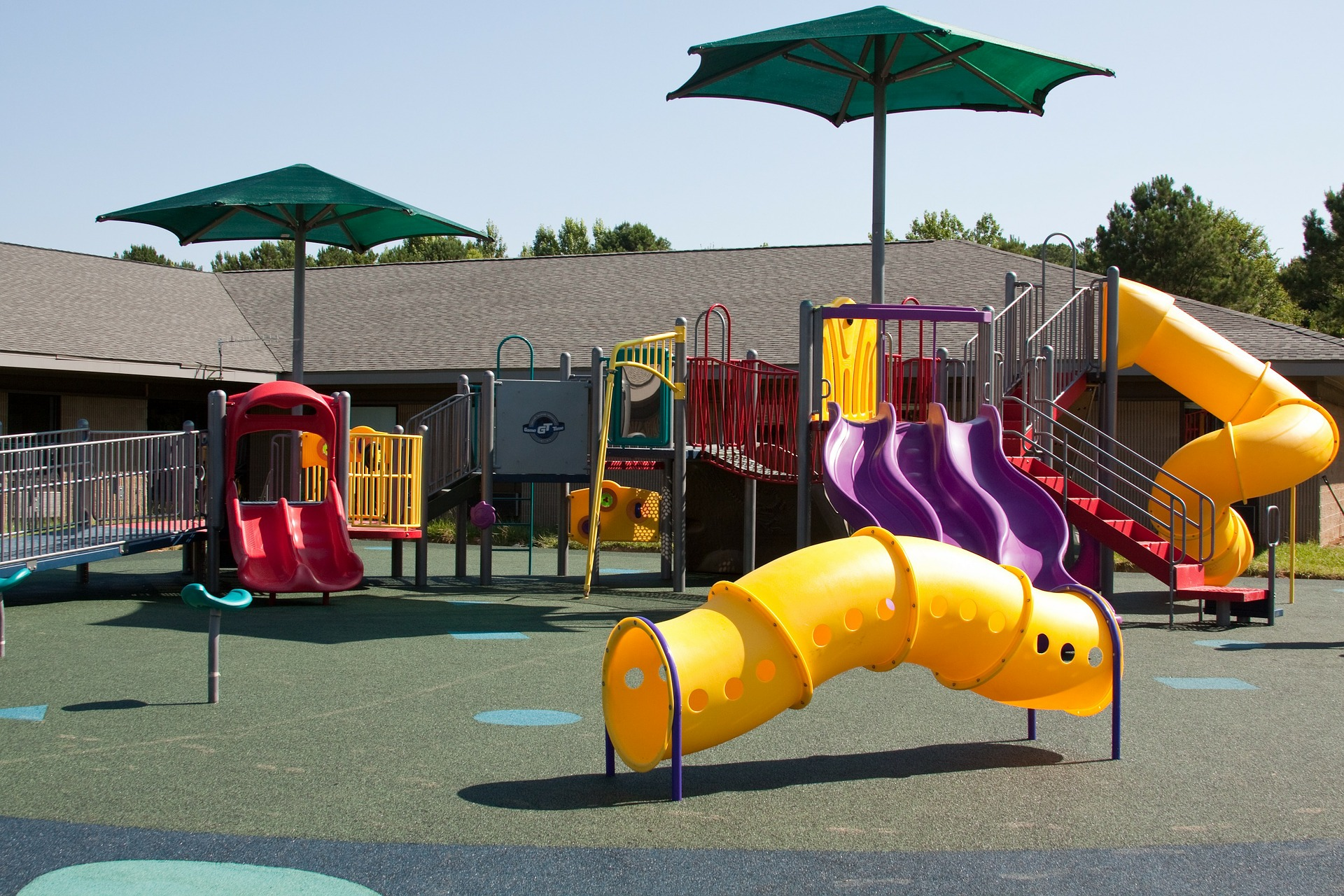 A playground with poured rubber surfacing